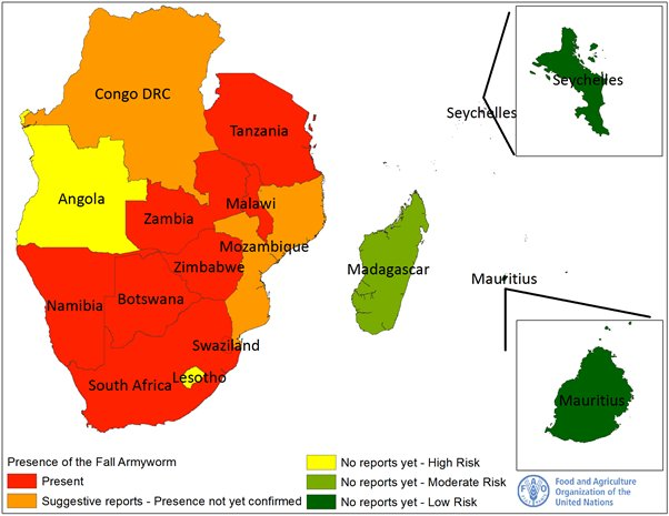 Urgency Needed To Combat Fall Armyworm In Africa Talk Africa - Mauritius map africa